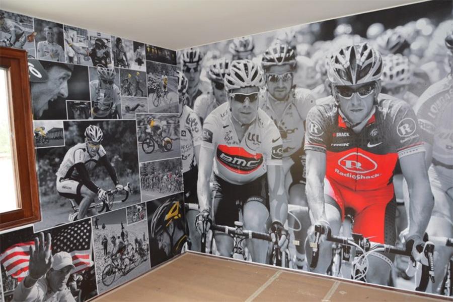 Gimnasio con ciclistas famosos